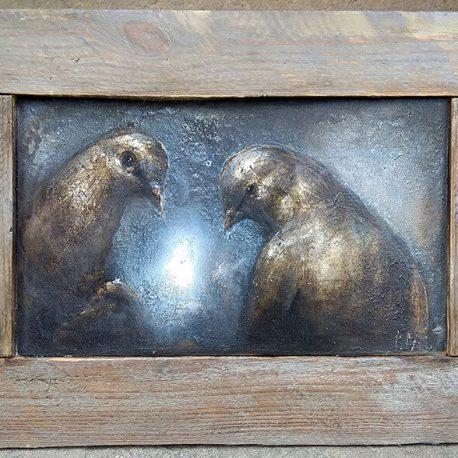 obraz z gołębiami