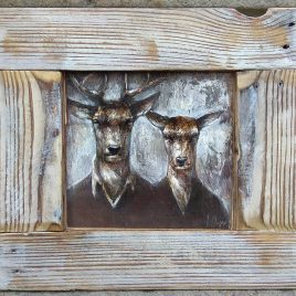 obraz z parą jeleni