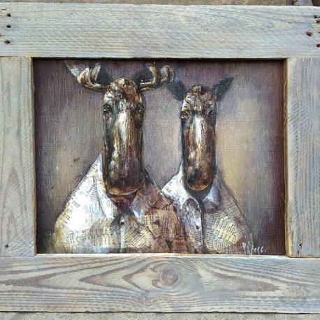 obraz z parą łosi