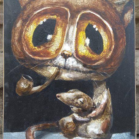 obraz z kotem palącym fajkę