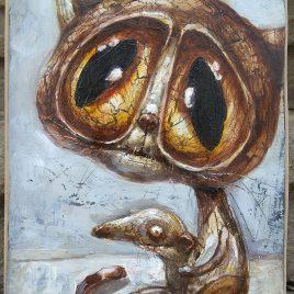 obraz kotem przytulającym szczurka