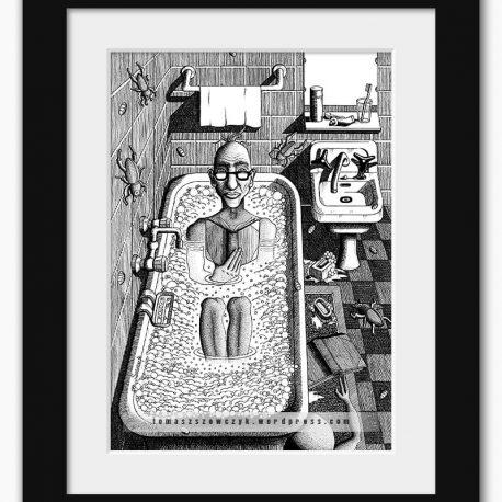 grafika z mężczyzną czytającym książkęw wannie