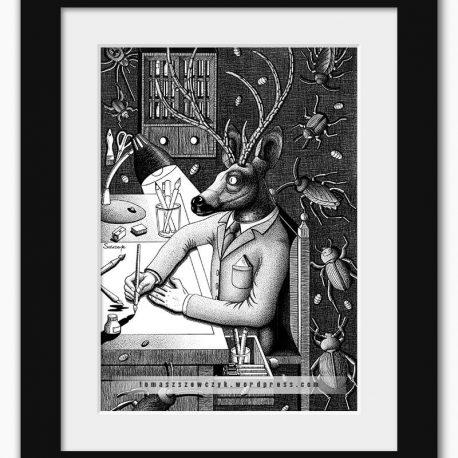 grafika z jeleniem rysującym przy biurku