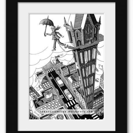 grafika mężczyzna z parasolem skaczący z wieży