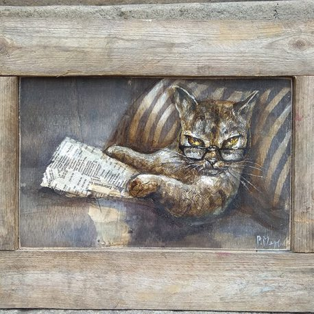portret kota z gazetą